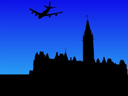 four engine plane flying over Canadian parliament Ottawa photo