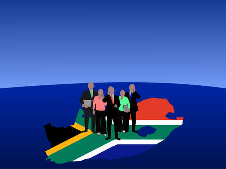 South Africa business team with map flag and currency symbol photo