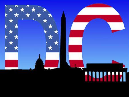 Washington DC skyline with American flag text