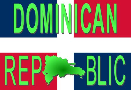 Dominican Republic text with map on flag illustration illustration