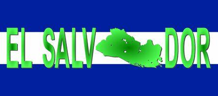 mapa de el salvador: El Salvador texto con mapa en la ilustraci�n del pabell�n  Foto de archivo