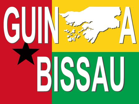 bissau: Guinea Bissau text with map on flag illustration Stock Photo