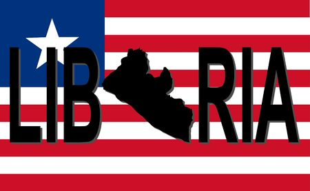 liberia: Liberia text with map on flag illustration Stock Photo