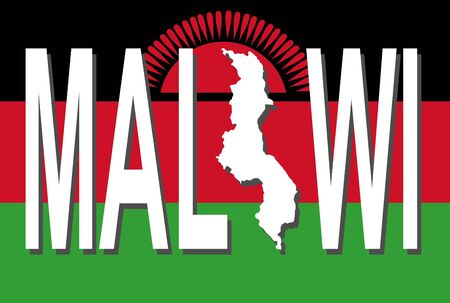 malawi: Malawi text with map on flag illustration
