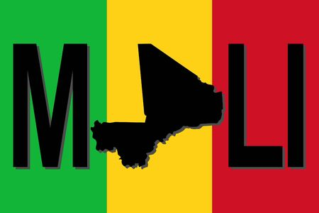 mali: Mali text with map on flag illustration Stock Photo