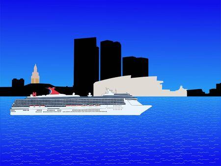 cruise ship and Bayside Miami skyline illustration Stock Photo
