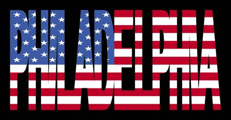 Filadelfia superposición de texto con bandera americana ilustración Foto de archivo - 2347359