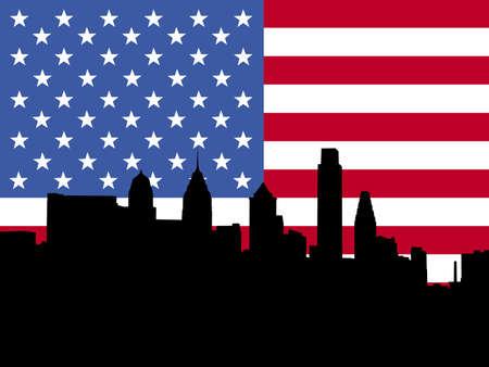 philadelphia: Philadelphia skyline with American flag illustration