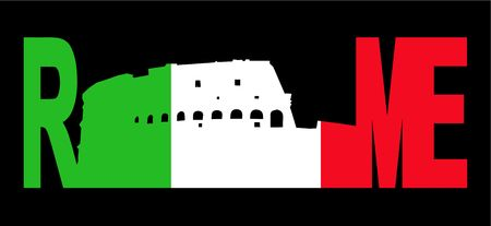 colloseum: Rome text with colosseum and Italian flag illustration