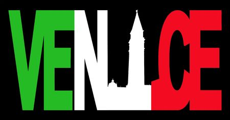 Venice text with campanile and Italian flag illustration