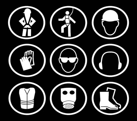 safety harness: construction safety equipment symbols on black illustration Stock Photo
