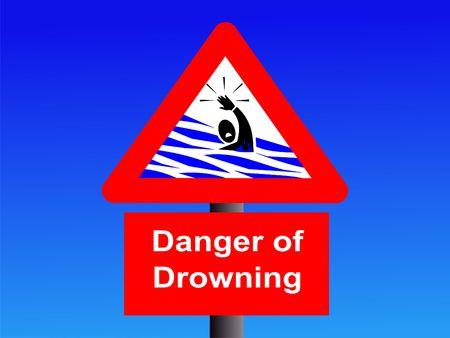 danger of drowning sign on blue illustration illustration
