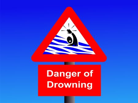 drowning: danger of drowning sign on blue illustration Stock Photo