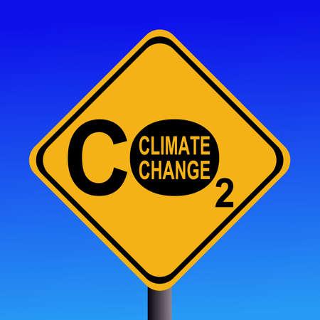 CO2 emissions: warning Climate change CO2 emissions sign illustration