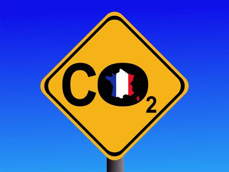 emissions: warning French CO2 emissions sign illustration