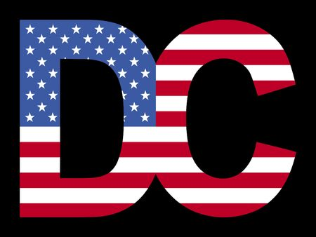 Overlapping Washington DC text with American flag illustration Stock Illustration - 2356770
