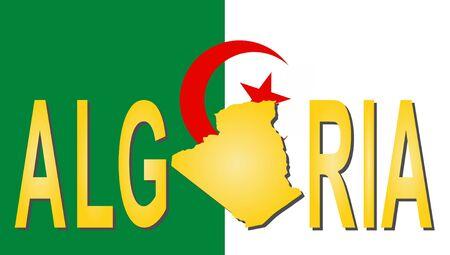 Algeria text with map on flag illustration illustration