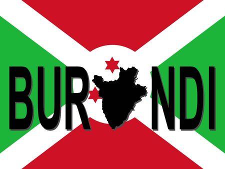 Burundi text with map on flag illustration Stock Illustration - 2356778