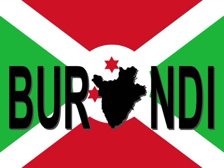 burundi: Burundi text with map on flag illustration