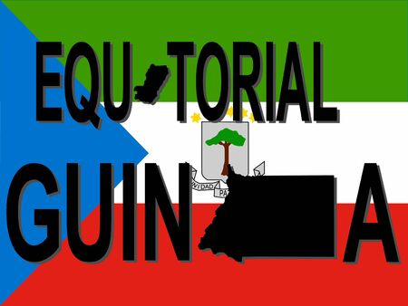 Equatorial Guinea text with map on flag illustration illustration