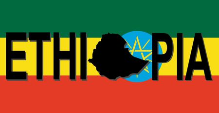Ethiopia text with map on flag illustration illustration