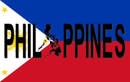 Philippines text with map on flag illustration illustration