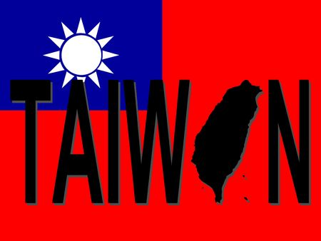 Taiwan text with map on flag illustration illustration