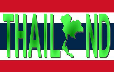 Thailand text with map on flag illustration illustration