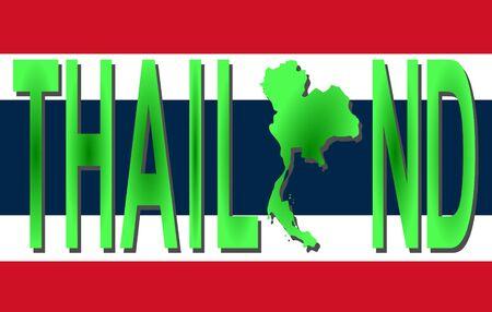 thai flag: Thailand text with map on flag illustration