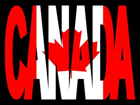 overlapping Canada text with Canadian flag photo