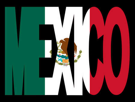 Superposición de texto de México, con bandera de México  Foto de archivo - 2367284