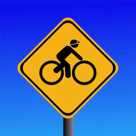 Warning cyclists ahead sign on blue illustration illustration