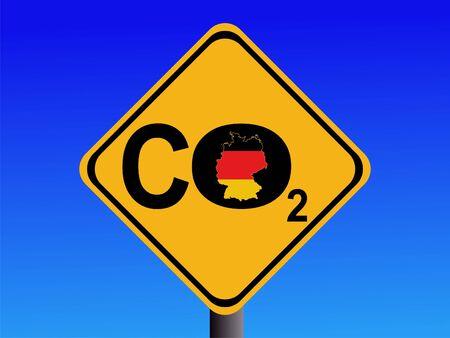CO2 emissions: warning German CO2 emissions sign illustration Stock Photo