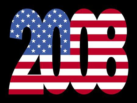 2008 superposición de texto con bandera americana ilustración Foto de archivo - 2367447