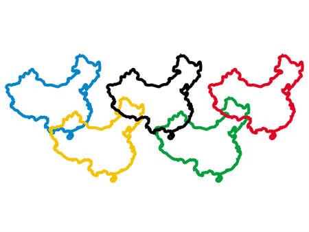 mapa china: cinco chino expone en el mapa ol�mpico colores ilustraci�n  Foto de archivo