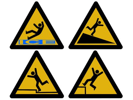 slippery warning symbol: Caution signs figures falling tripping and slipping