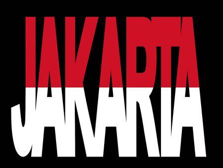 jakarta: overlapping Jakarta text with Indonesian flag illustration Stock Photo