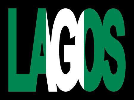 nigerian: overlapping Lagos text with Nigerian flag illustration