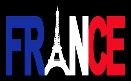 french symbol: France text with Eiffel tower and French flag illustration