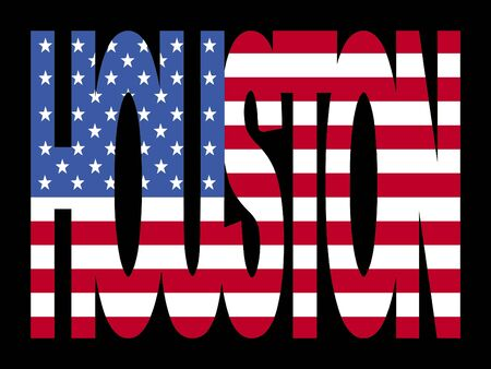 houston: overlapping Houston text with American flag illustration