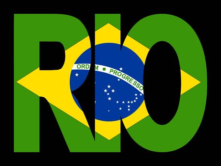 brazilian: overlapping Rio text with Brazilian flag illustration