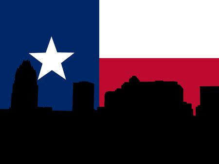 texan: Austin Skyline with Texan flag illustration Stock Photo