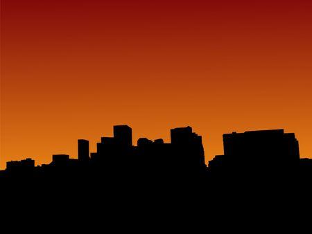 denver skyline at sunset: Denver skyline at sunset with beautiful sky