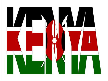 kenya: overlapping Kenya text with Kenyan flag illustration