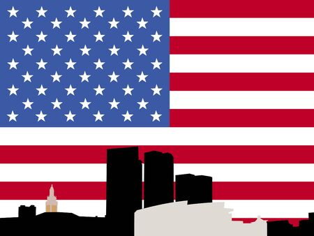 Bayside Miami skyline with American flag illustration