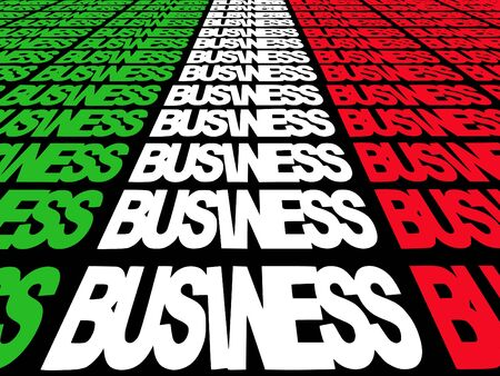 converging: converging business text with Italian flag illustration