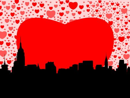 chrysler building: Midtown Manhattan happy valentines day with hearts illustration