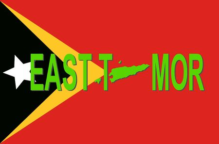 timor: East Timor text with map on flag illustration Stock Photo