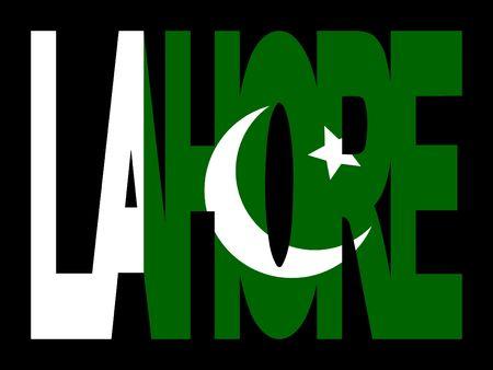 Lahore superposición de texto con bandera pakistaní ilustración  Foto de archivo - 2373340