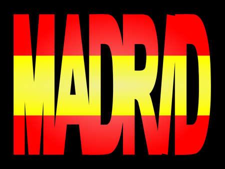 Madrid superposición de texto con pabellón español ilustración  Foto de archivo - 2376133
